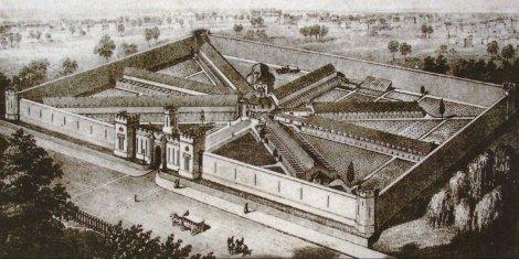 Eastern State Penitentiary, uma das primeiras prisões modernas, inaugurada em 1829 nos EUA